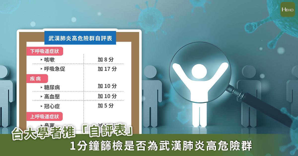 半數武漢肺炎患者不會發燒!台大學者推「自評表」1分鐘篩檢